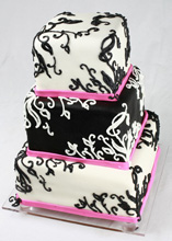 Black, White, and Magenta Stationery-Inspired Wedding Cake