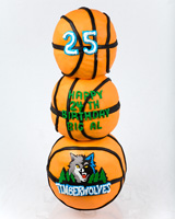 Stacked Basketballs Birthday Cake - Timberwolves