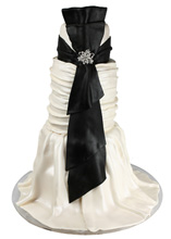 Black Sash Gown Wedding Cake