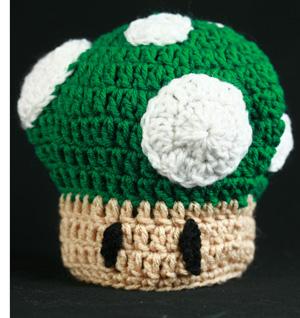 "Free Crochet Pattern – ""1 Up"" Mushroom Baby Hat 2f7fb35b6a3"