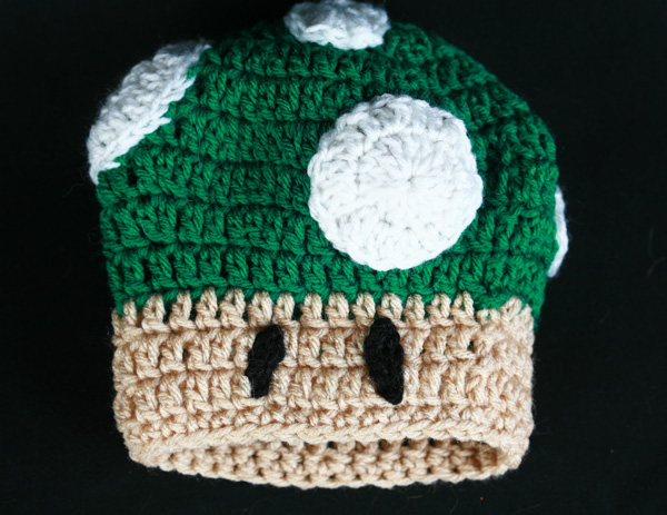 "Free Crochet Pattern – ""1 Up"" Mushroom Baby Hat 2f7fb35b6a3"