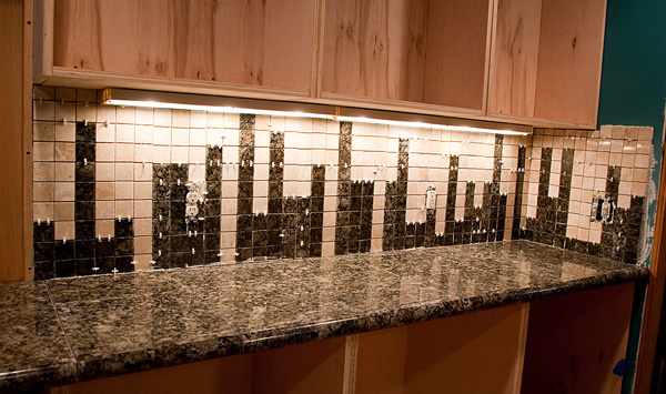 Install A Nerdy Granite Tile Backsplash