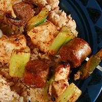 Jambalaya Skewers with Quick Dirty Rice