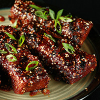 Boneless Vegan Ribs in Asian Sauce