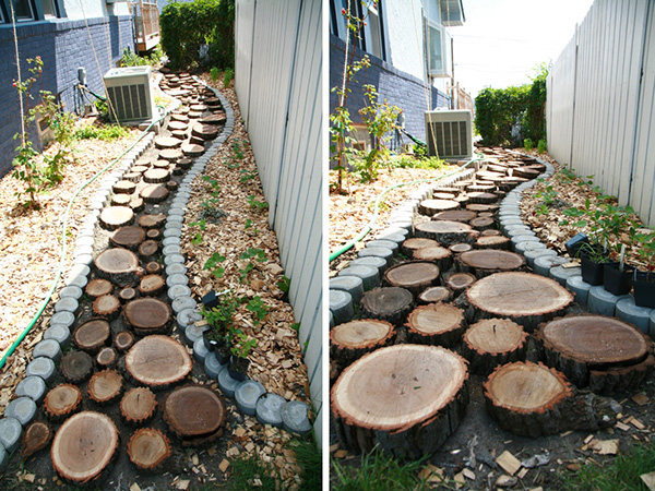 diy tutorial recycled wood slice garden pathway. Black Bedroom Furniture Sets. Home Design Ideas