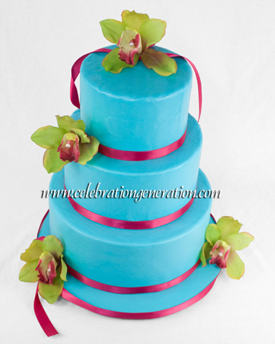 Sugar Lilies Turquoise Magenta Wedding cake with orchids Blue Magenta