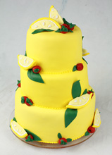 Lemons & raspberries Wedding Cake