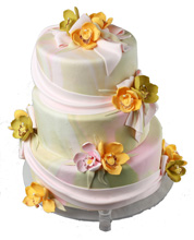 Marbled Pastel Wedding Cake with Sugar Orchids