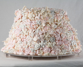 Pastel Meringue Flowers Wedding Cake