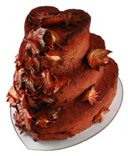 Metallic Autumn Leaves Wedding Cake