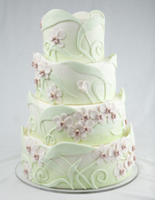 Elegant Orchid Wrap Wedding Cake