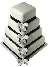 Sleek Orchids Wedding Cake