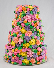 Spring Meringue Flowers Wedding Cake