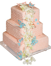 Sugar Butterflies and Orchids Wedding Cake