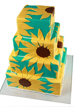 Graphic Sunflowers Wedding Cake