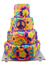 Trippy Hippie Wedding Cake
