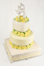 Yellow Sugar Roses Wedding Cake