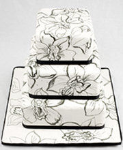Black and White Sketched Cymbidium Orchids Wedding Cake