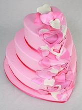 Cascading Hearts Wedding Cake