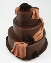 Chocolate Draped Hearts Wedding Cake