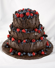 Chocolate Leaves & Berries Wedding Cake
