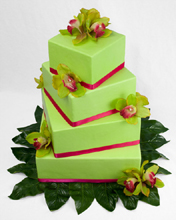 Lime Green Wedding Cake with Orchids