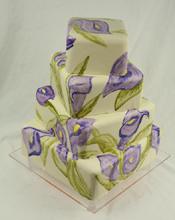 Watercolor Calla Lilies Wedding Cake
