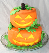 Stacked Jack O Lanterns Cake